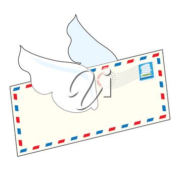 An airmail letter with wings is flying through the air