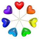 Seven heart shaped lollipops colored as rainbow, isolated on white background