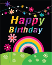 Royalty Free Clipart Image of a Happy Birthday Greeting With a Rainbow and Flowers