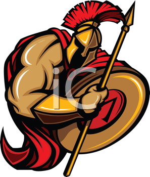 Royalty Free Clipart Image of a Spartan Warrior