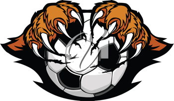 Royalty Free Clipart Image of a Soccer Ball With Tiger Claws
