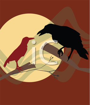 Royalty Free Clipart Image of  Crows
