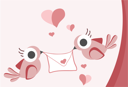 Royalty Free Clipart Image of Birds With a Love Letter