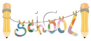 Royalty Free Clipart Image of School Spelled Out With Socks