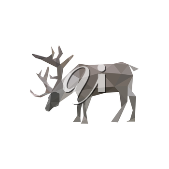 Illustration of abstract origami reindeer isolated on white background