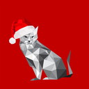 Illustration of origami cat with santa hat isolated on red background