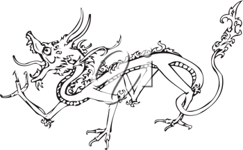 Royalty Free Clipart Image of a Dragon Illustration