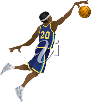 Royalty Free Clipart Image of a Basketball Player Jumping and Dunking a Basketball