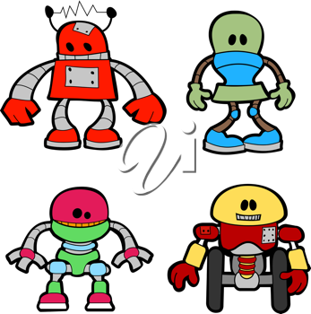 Royalty Free Clipart Image of Various Robots