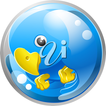 Royalty Free Clipart Image of a Blue Bird Icon