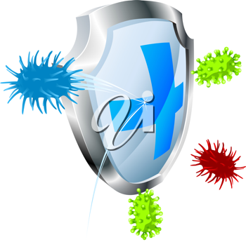 Royalty Free Clipart Image of a Shield With Bacteria Around It