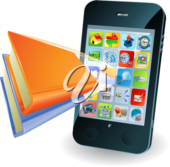 Royalty Free Clipart Image of a Smartphone Application Popping From the Screen
