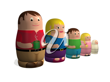 Royalty Free Clipart Image of Russian Dolls