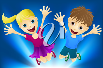 Illustration of a happy boy and girl jumping for joy