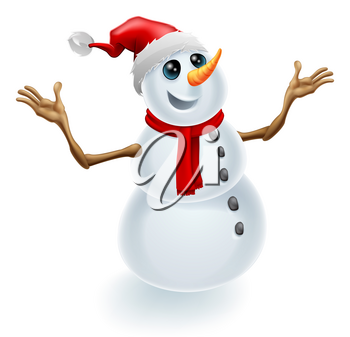 A cute happy Christmas snowman wearing a Santa hat and scarf