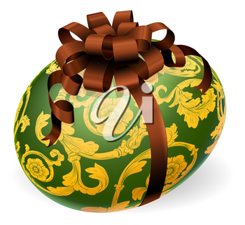 A luxury green Easter egg with ornate gold pattern and brown bow