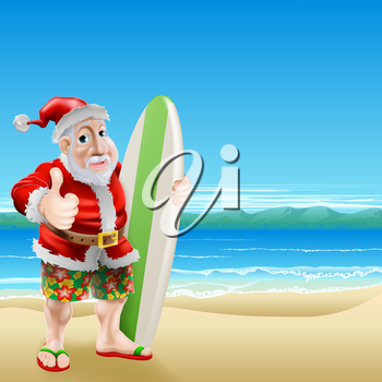 An illustration of Santa Claus standing in shorts and sandals on a beach holding a surfboard and doing a thumbs up
