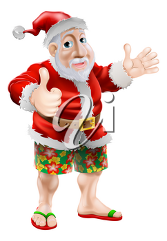 Summer Santa in beach wear, long board shorts or Bermuda shorts and flip-flop sandals doing a thumbs up.