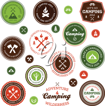 Set of retro camping and outdoor adventure badges and labels