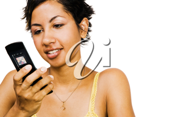 Royalty Free Photo of a Woman Text Message on her Mobile Phone