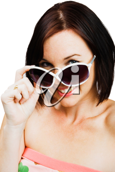 Caucasian woman wearing sunglasses isolated over white