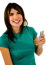 Portrait of a woman listening to music on a MP3 player isolated over white