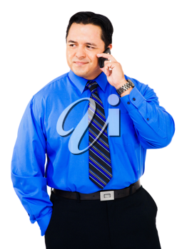 Latin American businessman using a mobile isolated over white