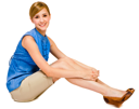 Confident woman posing and smiling isolated over white