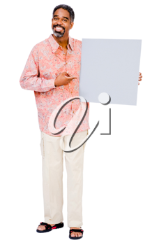 Portrait of a mature man showing a placard isolated over white