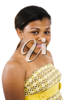 Close-up of a girl posing and smiling isolated over white