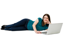 Young woman using a laptop and smiling isolated over white