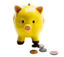 Coins with piggy bank isolated over white