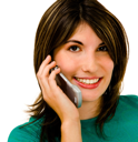Gorgeous woman talking on a mobile phone isolated over white