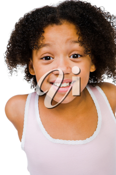 African American girl posing and smiling isolated over white