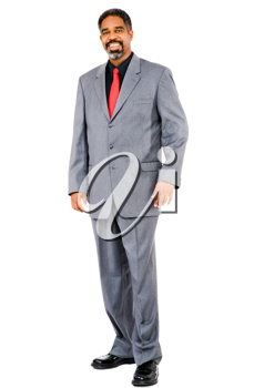Happy businessman posing isolated over white
