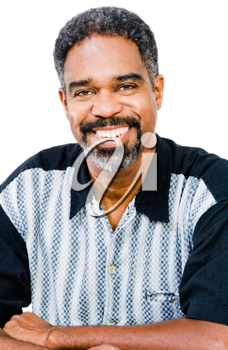 Confident mature man posing and smiling isolated over white
