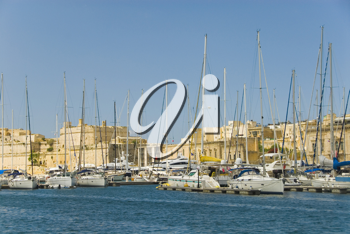 Boats moored at a harbor, Malta