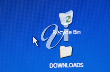 Icons on a computer monitor