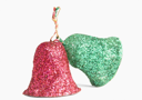 Close-up of red and green Christmas bells