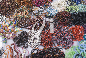 Close-up of craft products at a market stall, New Delhi, India