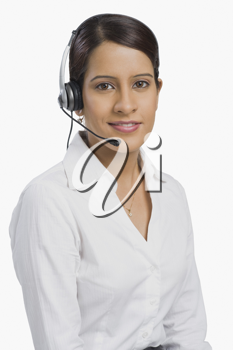 Female customer service representative using a headset