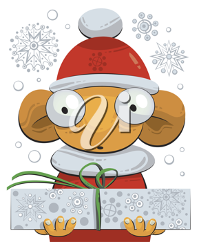 Royalty Free Clipart Image of an Elf Holding a Present