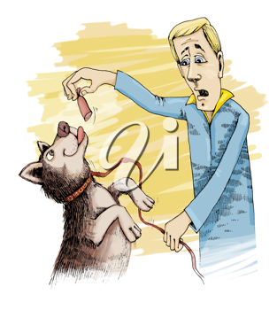 Royalty Free Clipart Image of a Man Giving a Dog a Treat