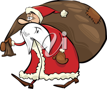 Royalty Free Clipart Image of a Santa Carrying His Sack of Toys