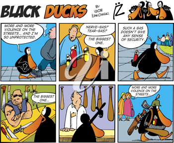 Royalty Free Clipart Image of a Black Ducks Comic Strip About Violence