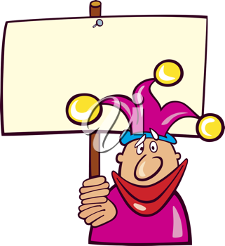 Royalty Free Clipart Image of a Jester With a Board