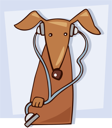 Royalty Free Clipart Image of a Dog With a Stethoscope