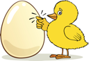 Royalty Free Clipart Image of a Little Chick Knocking on an Egg