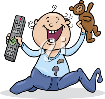 Royalty Free Clipart Image of a Baby With a Remote Control and Teddy Bear