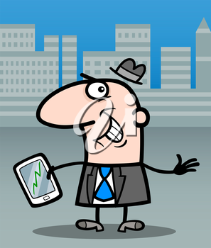 Cartoon Illustration of Happy Man or Businessman with Stock Market Chart on his Tablet Pc
